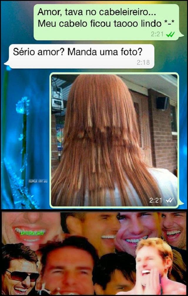 Amor, tava no cabeleireiro, meu cabelo ficou top Demais!!!